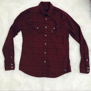 Guess Maroon Zipper Flannel Shirt!
